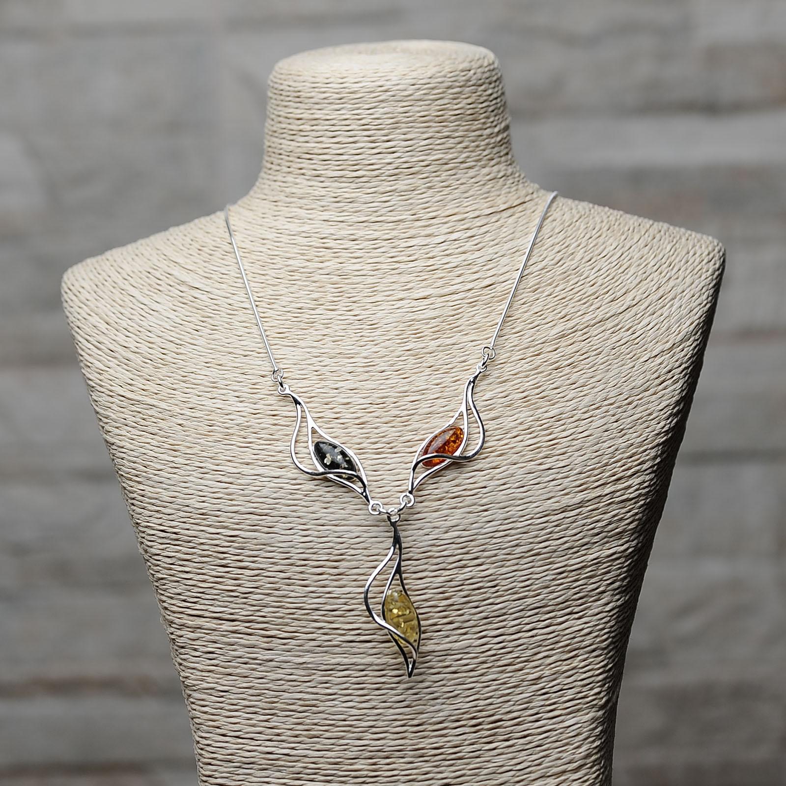 Collana argento 925 con Ambra da Mar Baltico