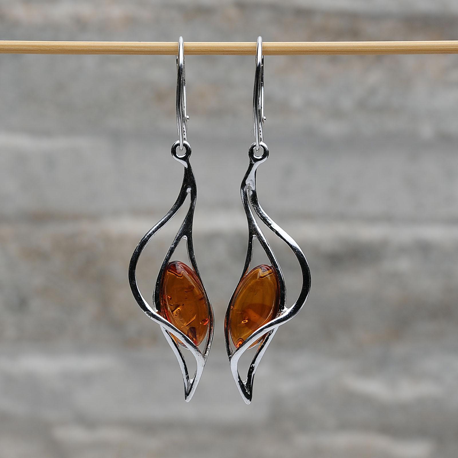 Orecchini pendenti argento 925 ambra