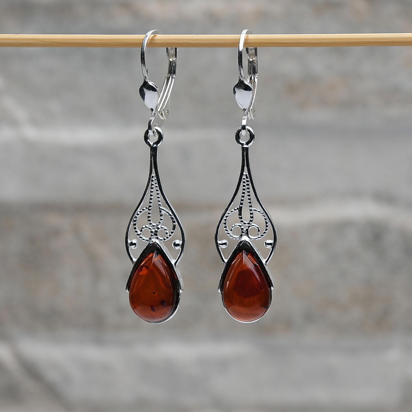 Orecchini pendenti argento 925 ambra da mar baltico